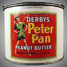 Vintage Peanut Butter Tin  - Derby Peter Pan Peanut Butter with Advertising Key
