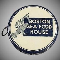 Vintage Celluloid Tape Measure - Boston Sea Food House Advertising