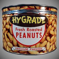 Vintage Keywind Nut Tin - Hy-Grade Peanuts - 1950's - Old Advertising Tin