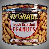 Vintage Keywind Nut Tin - Hy-Grade Peanuts - 1950's - Old Advertising Tin
