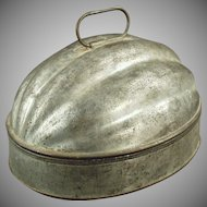 Vintage Tin Pudding Mold - Melon Shaped 2 Quart Capacity Mold