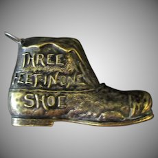 Vintage Three Feet in One Shoe – Old Metal Figural Tape Measure