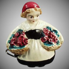Vintage Cellulloid Figural Tape Measure - Little Girl with Baskets of Flowers