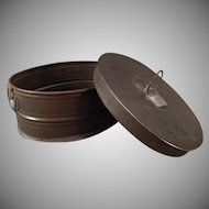 Vintage Tin Ware – Small Oval Metal Container with Lid