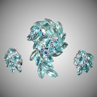 Vintage Costume Jewelry - Brooch & Matching Earrings – Aquamarine Rhinestones & Marquis