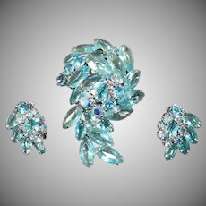 Vintage Costume Jewelry - Brooch & Matching Earrings – Aquamarine Rhinestones & Marquis