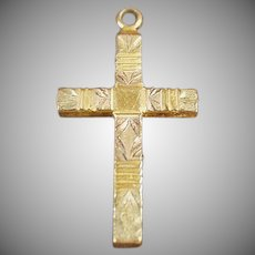 Vintage Cross Pendant with Etched Design - Gold Filled