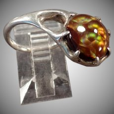 Artisan Sterling Ring - Unusual Side Mount - Beautiful Fire Agate Pinkie Ring