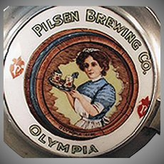 Vintage Beer Stein Glass with Porcelain Cap - Pilsen Brewing Co., Olympia - Chicago Brewery