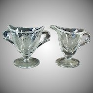Vintage Heisey - Orchid Etch on Waverly Individual Cream & Sugar Set