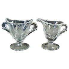 Vintage Heisey - Orchid Etch on Waverly Individual Cream & Sugar Set