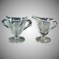 Vintage Heisey Glassware - Orchid Etch on Waverly Pattern - Individual Cream & Sugar Set