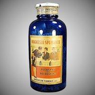 Vintage Cobalt Blue Glass Bottle - Magnesia Spumante Label - Spokane  Washington
