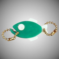 Vintage Figural Key Chain - Green Fish with Advertising - Why Fish Around