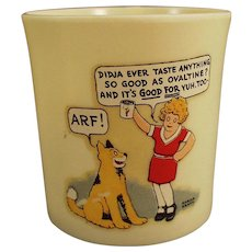 "Vintage Beetleware Ovaltine Mug - Orphan Annie and Sandy ""ARF"""