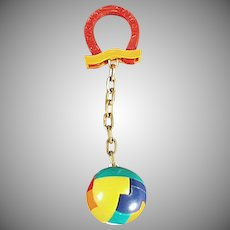 Vintage Dexterity Puzzle Ball and Good Luck Horse Shoe Key Holder & Chain