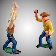 Vintage German Toys - Plastic Cowboy Action Figures - 4 Pieces