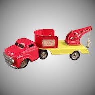 Vintage Tin Toy - Small Wrecker Truck Towing Service - Japanese Tin