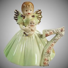 Vintage Josef Original Porcelain -  Age Seven Birthday Angel with Baby Doll