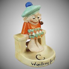 Vintage Schafer & Vater Porcelain - Waiting for the Tide Scotsman Swinger Whimsy