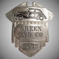 Vintage Taxi Cab Advertising - Green Cab Driver's Cap Badge