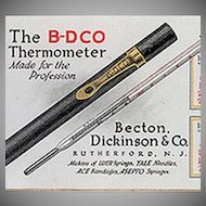 Vintage Celluloid Blotter - 1921 Medical Advertising - B-D Thermometer