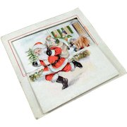 Vintage Christmas Card Cute Graphics with Santa and Children