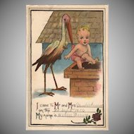 Vintage Postcard - Stork and Baby Birth Announcement 1916