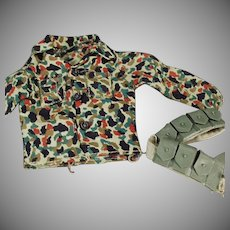 Vintage G.I. Joe Action Figure Doll Clothes - Camouflage Shirt and Belt Accessory