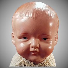 Vintage Baby Doll with Crawling Action - Celluloid Wind Up Toy Doll