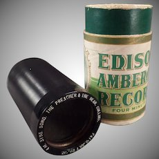 Vintage Edison Cylinder Phonograph Record – Preacher and the Bear - Collins