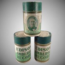 Vintage Patriotic Edison Cylinder Phonograph Records – 3 Wax Amberol with Original Boxes