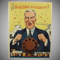 Vintage Sheet Music with Advertising & Great Graphics - Feel Like a Million