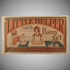 Vintage Toy Box with Fun Graphics - Little Helper Pastry Set - Box Only - 1930's