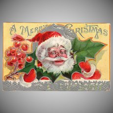 Vintage Postcard – Colorful Santa Claus and Christmas Holly