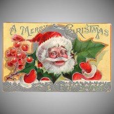 Vintage Postcard – Colorful Santa Claus and Christmas Holly
