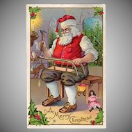 Vintage Postcard - Christmas - Beautiful Santa Claus in His Toy Workshop