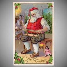 Vintage Postcard - Christmas - Beautiful Santa Claus in His Toy Workshop