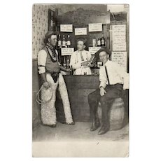 Vintage Postcard - Cowboys in a Western Saloon - 1913 Photograph