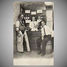 Vintage Postcard - Cowboys in a Western Saloon - 1913 Photograph