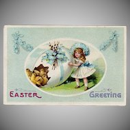 Vintage Postcard - Little Girl, Decorated Easter Egg & Baby Chicks