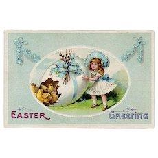Vintage Postcard - Little Girl, Decorated Easter Egg & Baby Chicks