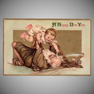 Vintage Postcard - Father Time and New Years Baby - Frances Brundage