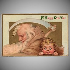 Vintage Postcard - New Years Father Time - Frances Brundage - Panama-Pacific Expo 1915