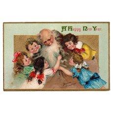 Vintage Postcard - New Years - Beautiful Frances Brundage Children