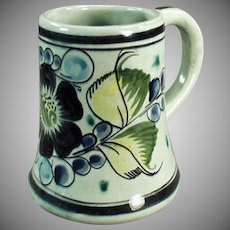 Vintage Mexican Pottery Coffee Mug - Tonala Mexico - Blue & Green Floral Design