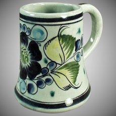 Vintage Mexican Pottery Coffee Mug - Tonala Mexico - Blue & Green Floral Design