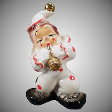 Vintage California Josef Original – Porcelain Clown with Shiny Gold Horn