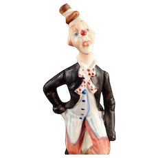 Small Vintage Porcelain Hobo Clown Figurine