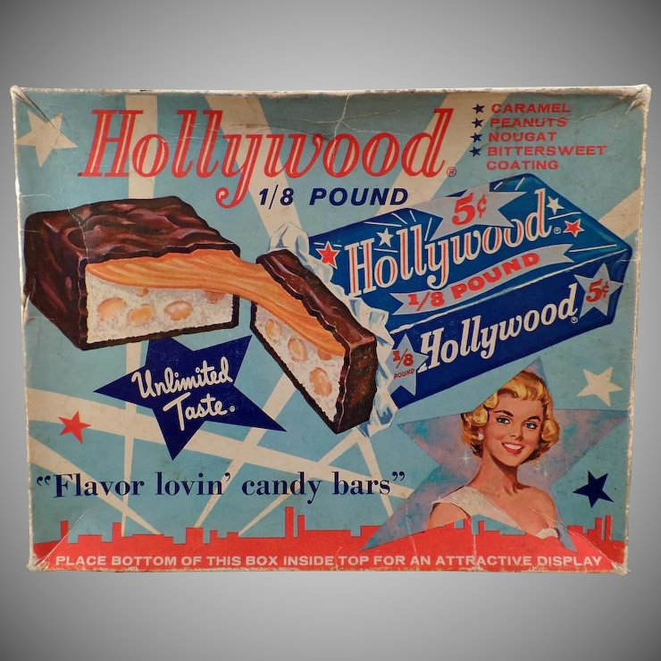 Vintage Candy Box   Hollywood Candy Bar Box U2013 Colorful Graphics